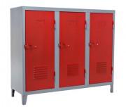 Guardaroba basso a 3 ante / Les Couleurs® Le Corbusier Rosso vermiglio 59 Tolix Chantal Andriot 1