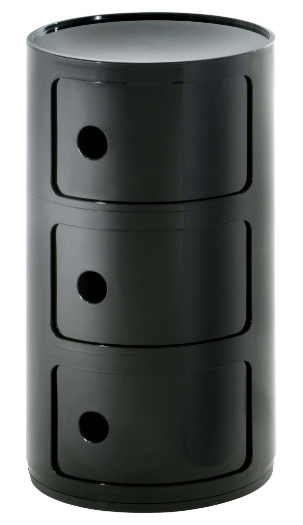 Mobile contenitore Componibile 3 elementi Nero Kartell Anna Castelli Ferrieri 1