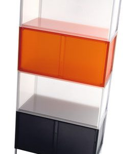 Mobile One container - Module stackable without stand / with door Orange Kartell Piero Lissoni 1