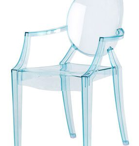 Armchair children Lou Lou Ghost transparent Blue Kartell Philippe Starck 1
