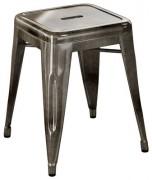Sgabello H - H 45 cm Acciaio grezzo con vernice trasparente scura Tolix Xavier Pauchard 1