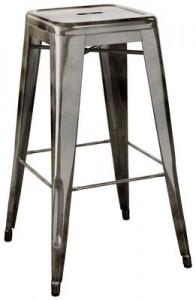Sgabello alto H - H 75 cm Acciaio grezzo con vernice trasparente scura Tolix Xavier Pauchard 1