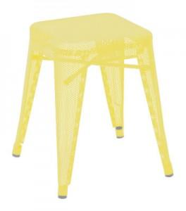 Sgabello basso Sgabello basso H acciaio laccato perforato - H 45 cm  Zolfo giallo Giallo zolfo Tolix Chantal Andriot 1