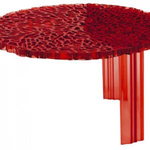 Coffee Table T-Table H 28 cm transparent red Kartell Patricia Urquiola 1
