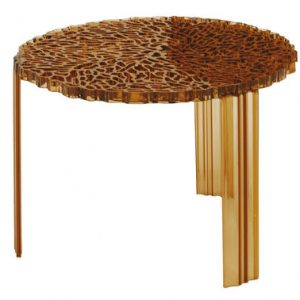 Coffee Table T-Table H 36 cm transparent amber Kartell Patricia Urquiola 1