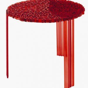 Tavolino T-Table H 44 cm Rosso trasparente Kartell Patricia Urquiola 1