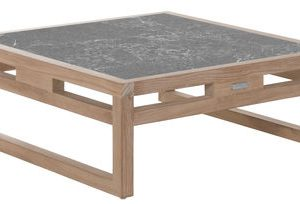 coffee table coffee table Kontiki / Lava stone - 80x80 cm - Emu - Gray, Teak - Wood Gray | Teck Emu Alfredo Chiaramonte | Marco Marin 1
