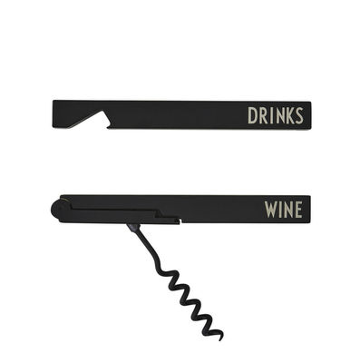 Bottle Opener Arne Jacobsen - & Black Corkscrew Design Arne Jacobsen Letters