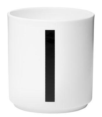 Becher Arne Jacobsen Buchstabe I weiße Entwurfs-Buchstaben Arne Jacobsen