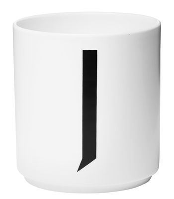 Becher Arne Jacobsen Buchstabe J weiße Entwurfs-Buchstaben Arne Jacobsen