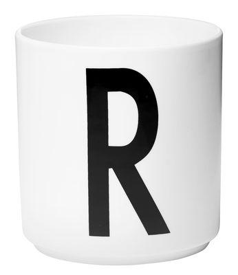 Becher Arne Jacobsen Buchstabe R weiße Entwurfs-Buchstaben Arne Jacobsen