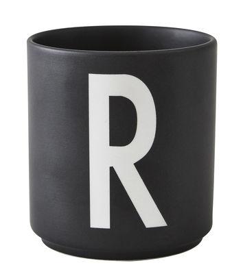 Becher Arne Jacobsen Buchstabe R schwarze Entwurfs-Buchstaben Arne Jacobsen