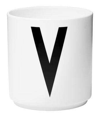 Becher Arne Jacobsen Buchstabe V weiße Entwurfs-Buchstaben Arne Jacobsen
