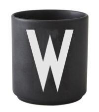 Becher Arne Jacobsen Buchstabe W schwarze Entwurfs-Buchstaben Arne Jacobsen