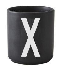 Becher Arne Jacobsen Buchstabe X schwarze Entwurfs-Buchstaben Arne Jacobsen