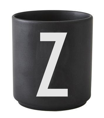 Becher Arne Jacobsen Buchstabe Z schwarze Entwurfs-Buchstaben Arne Jacobsen