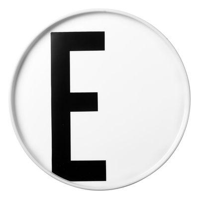 Placa Arne Jacobsen Letra E - Ø 20 cm Letras brancas de design Arne Jacobsen