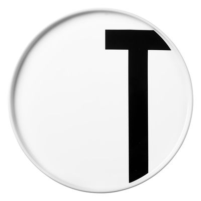 Assiette Arne Jacobsen Lettre T - Ø 20 cm Lettres Design Blanc Arne Jacobsen
