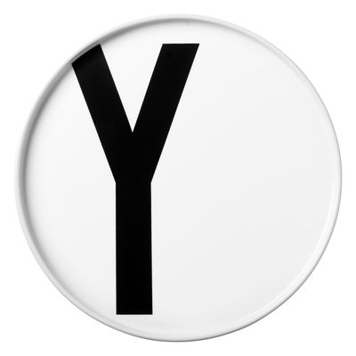 Assiette Arne Jacobsen Lettre Y - Ø 20 cm Lettres Design Blanc Arne Jacobsen