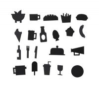 Food symbols set - for perforated panel Black Design Letters