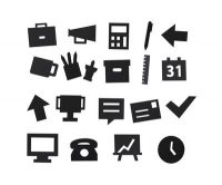 Office symbols set - for perforated panel Black Design Letters