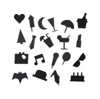 Party symbols set - for perforated panel Black Design Letters