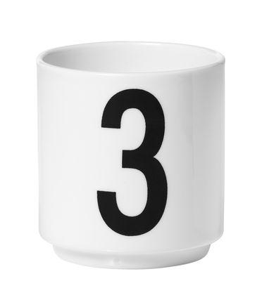 Taza de café Arne Jacobsen Número 3 Letras de diseño blanco Arne Jacobsen