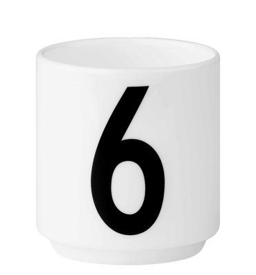 Φλυτζάνι καφέ Arne Jacobsen Αριθμός 6 Λευκή σχεδίαση επιστολών Arne Jacobsen