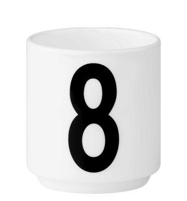 Arne Jacobsen Tasse à café Numéro 8 Blanc Design Lettres Arne Jacobsen