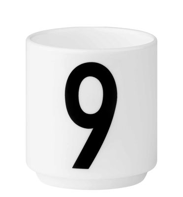 Arne Jacobsen Tasse à café Numéro 9 Blanc Design Lettres Arne Jacobsen