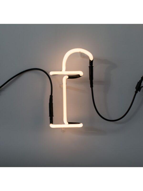 Neon Art Wall Lamp - Letter F White Seletti Selab