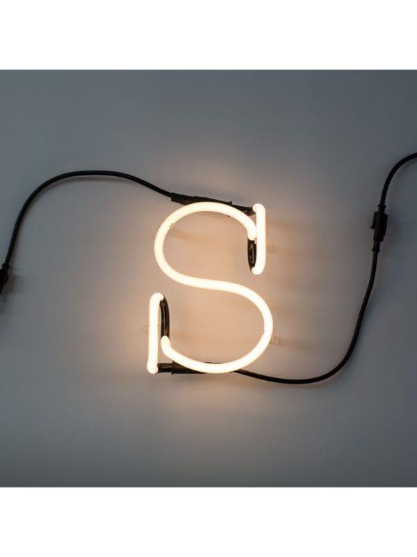 Lâmpada de parede de arte néon - letra S Seletti branco Selab