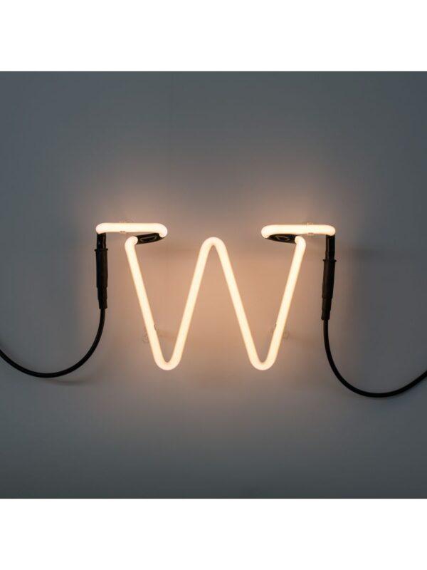 Neon Art Wall Lamp - Επιστολή W White Seletti Selab