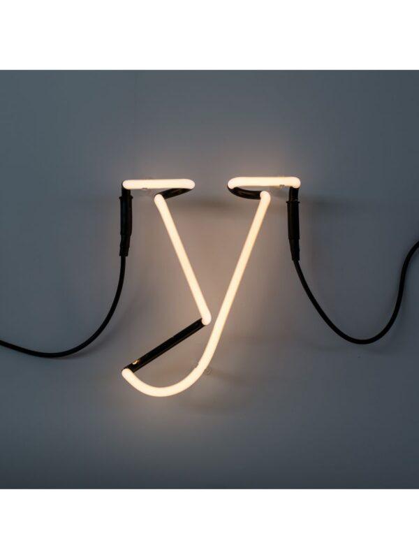 Lâmpada de parede de arte néon - letra Y branco Seletti Selab