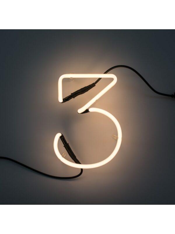 Lámpara de pared de arte neón - 3 número blanco Seletti Selab