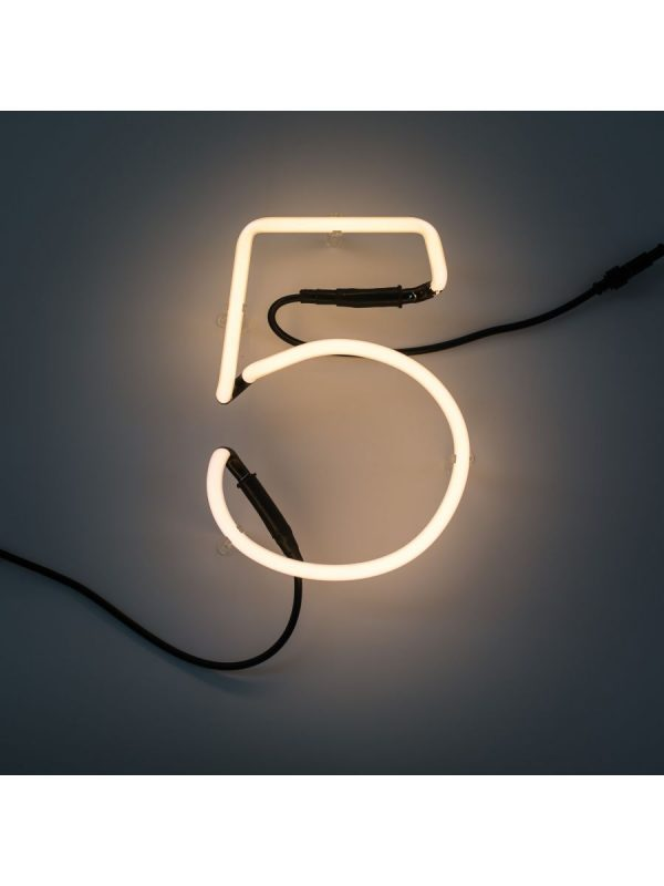 Neon Art Wall Lamp - 5 Number White Seletti Selab