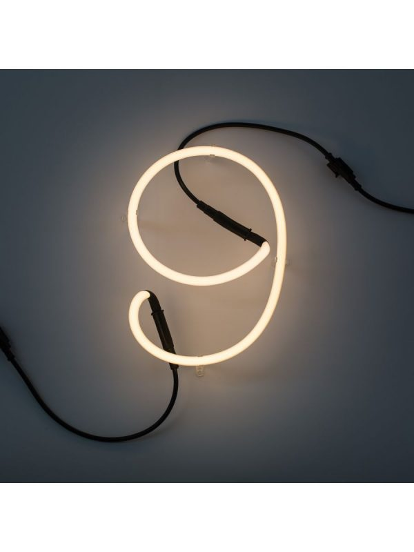 Lámpara de pared de arte neón - 9 número blanco Seletti Selab