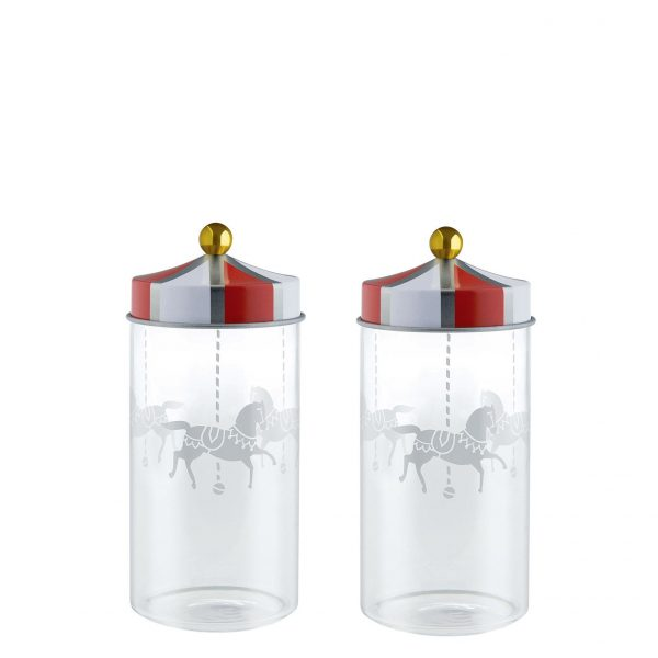 Hermetic Circus container - Set of 2 - 14 cl - For spices White | Red ALESSI Marcel Wanders 1