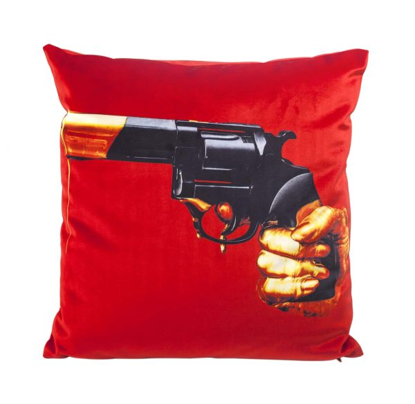 Toiletpaper cushion - Revolver - 50 x 50 cm Multicolor | Orange Seletti Maurizio Cattelan | Pierpaolo Ferrari