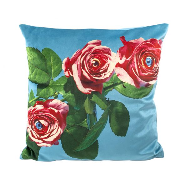 Coussin Papier Toilette - Roses - 50 x 50 cm Multicolore | Bleu Seletti Maurizio Cattelan | Pierpaolo Ferrari