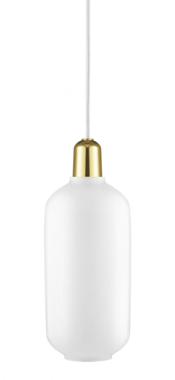Amp Large Suspension Lamp - Ø 11,2 x H 26 cm Brass | White Normann Copenhagen Simon Legald