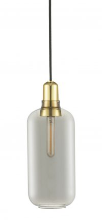 Amp Large Suspension Lamp - Ø 11,2 x H 26 cm Brass | Smoke gray Normann Copenhagen Simon Legald