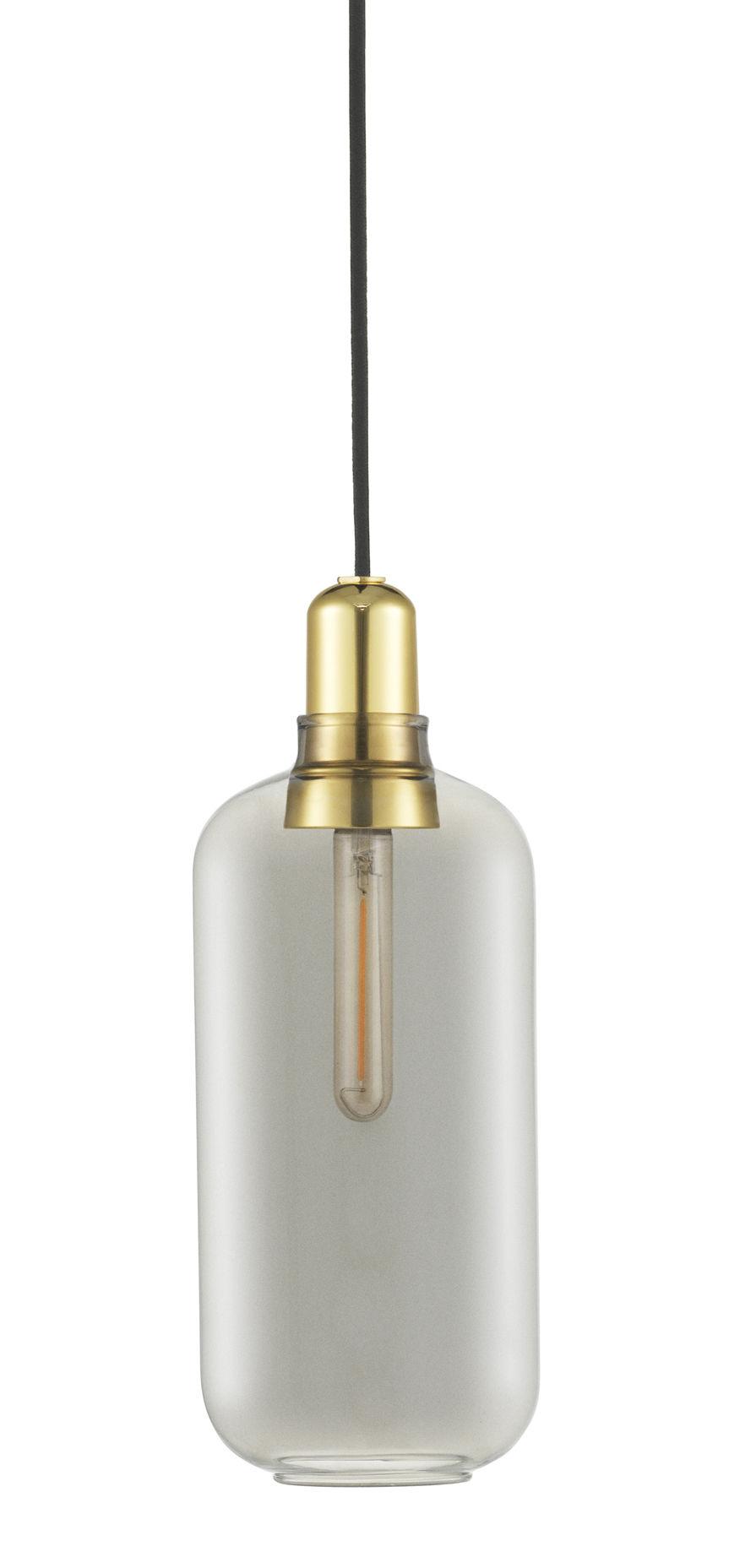 Amp Lâmpada de suspensão grande - Ø 11,2 x A 26 cm Latão   cinza fumaça Normann Copenhagen Simon Legald