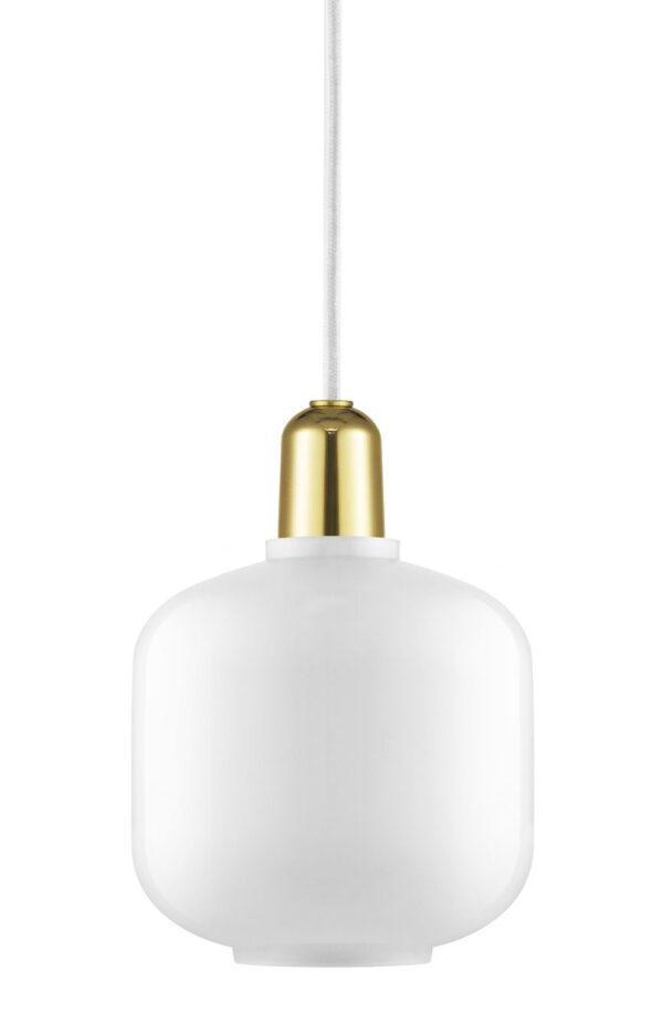 Amp Μικρή λάμπα ανάρτησης - Ø 14 x H 17 cm Ορείχαλκος | Λευκό Normann Copenhagen Simon Legald