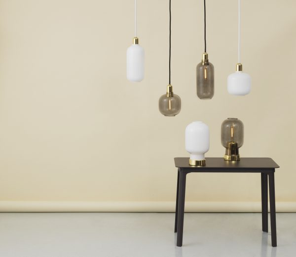 Amp Small Suspension Lamp - Ø 14 x H 17 cm Brass | Smoke gray Normann Copenhagen Simon Legald