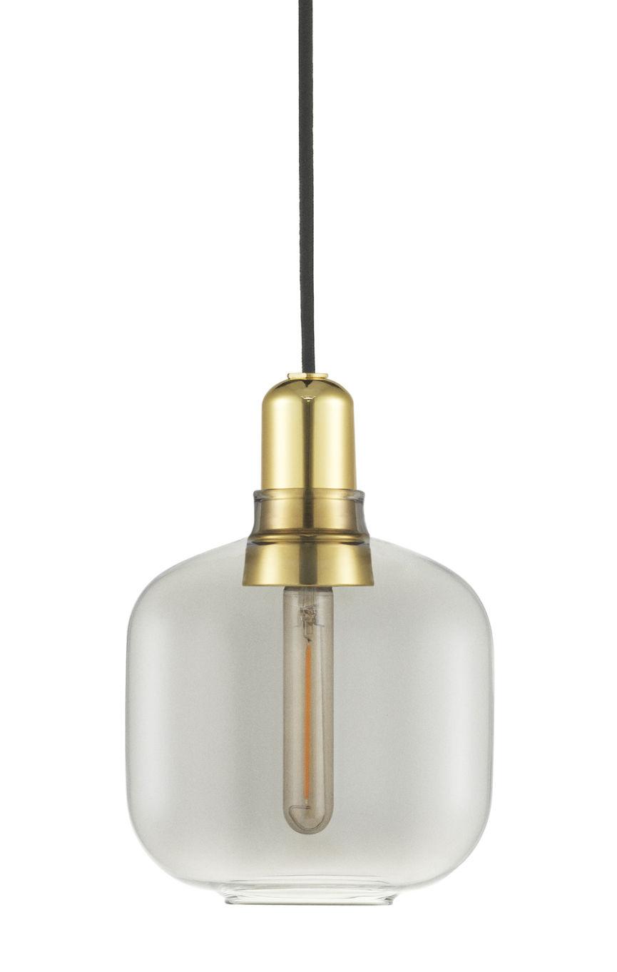 アンプスモールサスペンションランプ-Ø14 x H 17 cm真鍮 スモークグレーNormannコペンハーゲンSimon Legald