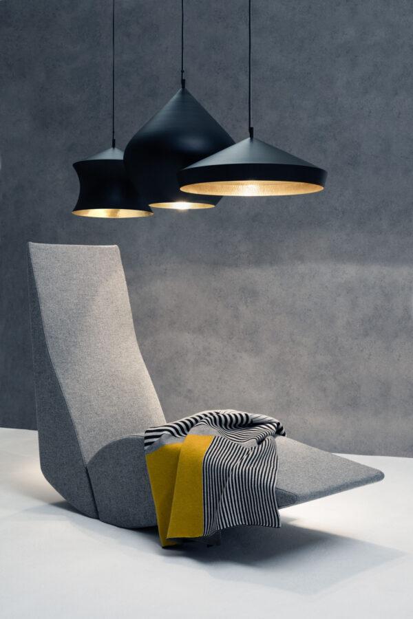 Suspension Lamp Beat Flat Ø 60 x H 20 cm Black | Brass Tom Dixon Tom Dixon