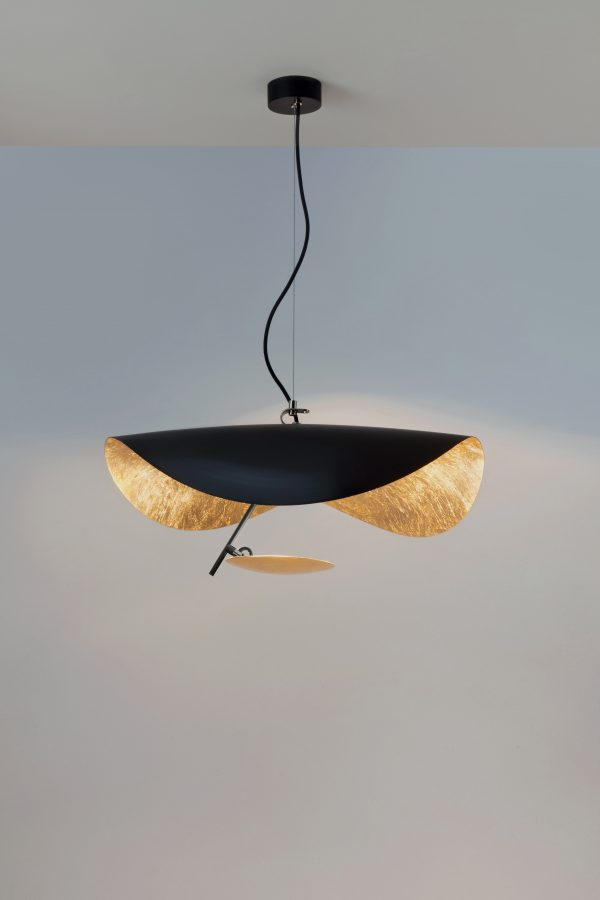 Suspension / LED Lederam Manta S1 - Ø 60 cm Noir | Cuivre Catellani & Smith Enzo Catellani