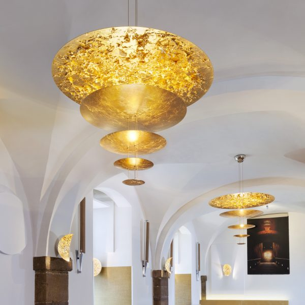 Lampada A Sospensione Macchina della Luce D - / LED - Ø 120 x H 145 cm - 5 dischi Oro Catellani & Smith Enzo Catellani