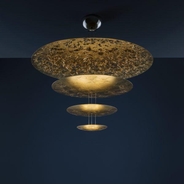 Lampada A Sospensione Macchina della Luce F - / LED - Ø 120 x  H 145 cm - 4 dischi Oro Catellani & Smith Enzo Catellani